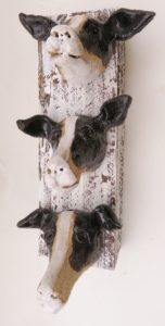 ceramic dog, wall hanging, wall plaque, jane adams ceramics