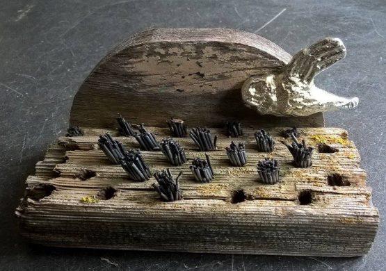 art work, driftwood, tin, hand cast tin, owls, jane adams, jand adams gallery