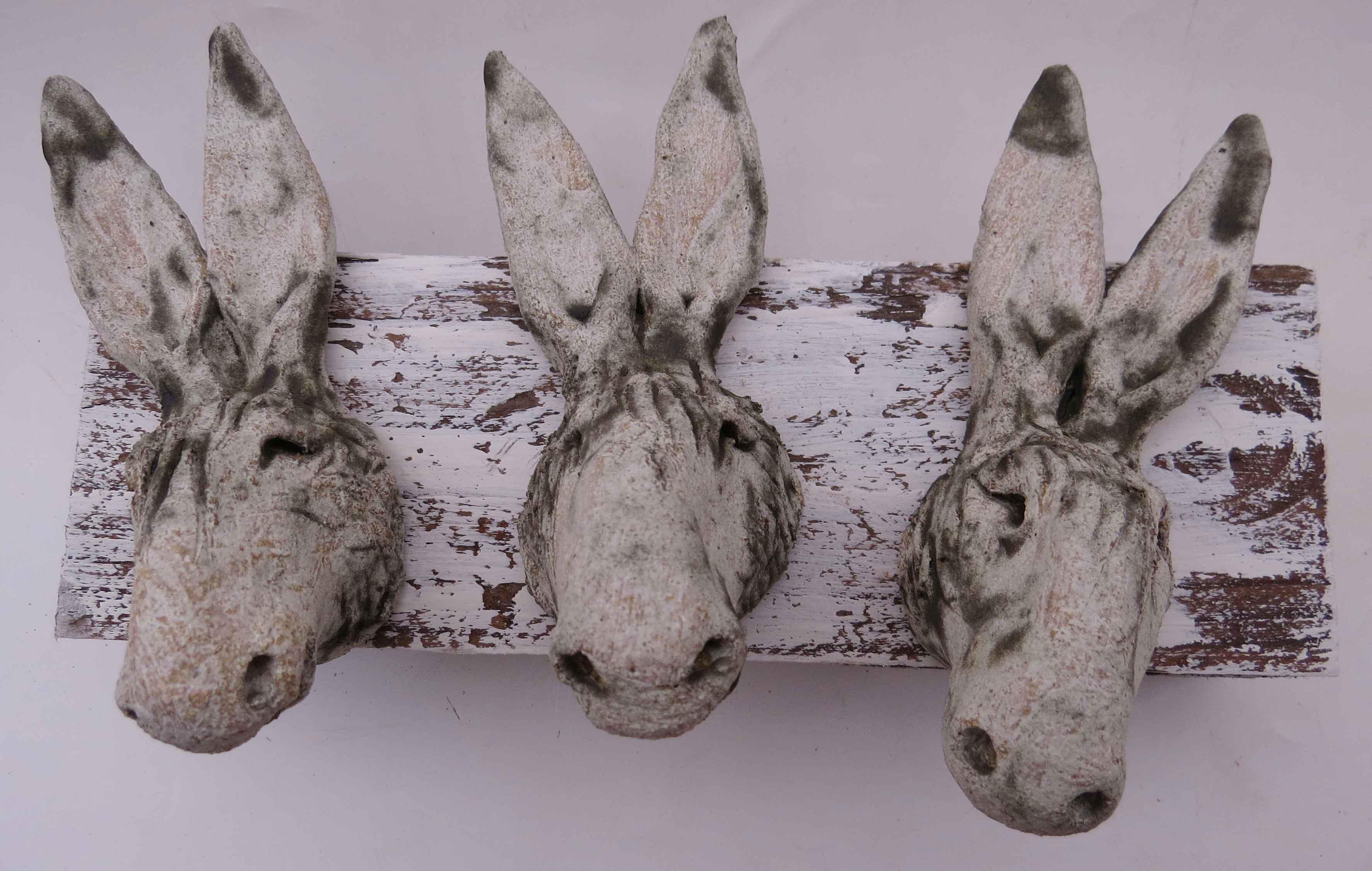 3 Donkey Heads On Woodblock Jane Adams Ceramics