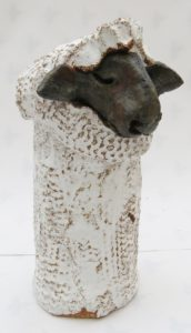 ceramic sheep, woolly jumper, jane adams ceramics