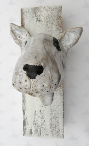 english bull terrier. head, wall plaque, handmade. studio ceramics, jane adams ceramics, pottery, woodblock, upcycled