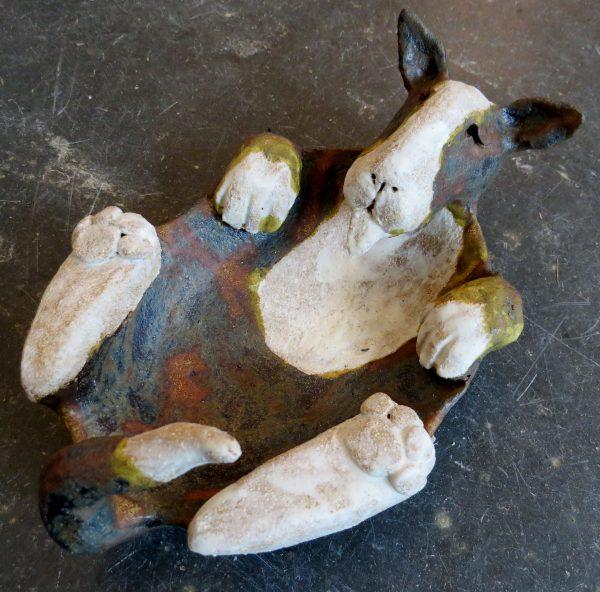 english bull terrier, dish, brindle and white, studio ceramics, handmade stoneware, cclay, potter jane adams ceramics