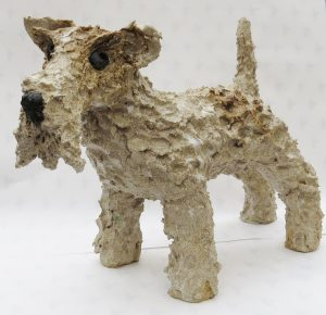 fox terrier standing, ceramic dog, handmade, studio ceramimc, jane adams ceramics,stoneware