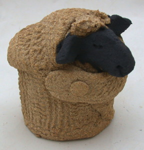 woolly jumper, ceramic sheep, clay, handmade, studio pottery, cornwall, jane adams ceramics