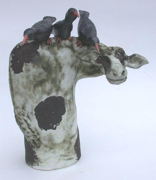 COW, ceramic,c houghs bird, handmadem stoneware cornwall jane adams ceramics