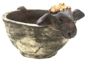 ceramic sheep, sheep bowl, ceramic sheep bowl, planter, sheep planter, jane adams ceramics, sheep ornament, bowl