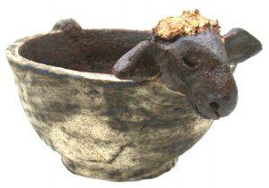 ceramic sheep, sheep bowl, ceramic sheep bowl, planter, sheep planter, jane adams ceramics, sheep ornament, bowl