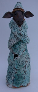 woolly jumper, blue sheep, jane adams ceramics, handmade stoneware ceramics