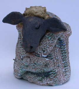 mini woolly jumper blue, hand made, studio ceramics, blue glaze, jane adams ceramics, cornwall, handmade, clau