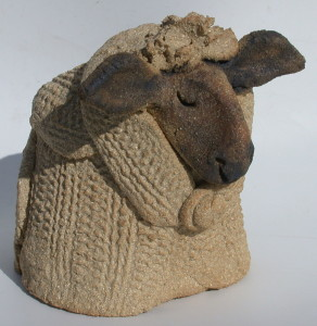 mini woolly jumper brown, black face sheep, knitted, clay, jane adams ceramics, handmade cornwall, scarf,