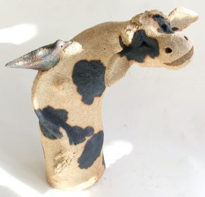 ceramic cow, brown cow, jane adams ceramics
