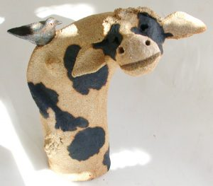 ceramic cow, brown cow, jane adams creramics, handmade pottery