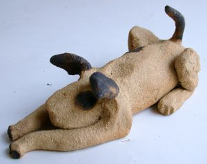 ceramic dog sitting down dog, clay, ceramic, stonewarem handmade, jane adams ceramics, cornwall