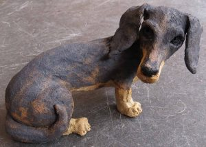 ceramic dogs, daschund, pottery, jane adams ceramics