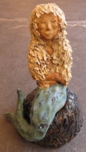 ceramic mermaid, jane adams ceramics, mermaid of Zennor, west cornwall