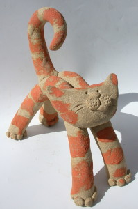ginger cat, ceramic, handmade, jane adams ceramics, cornwall