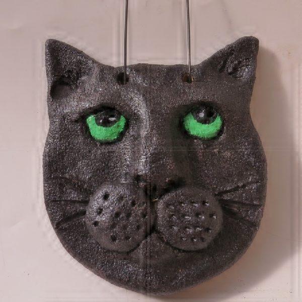 ceramic cat wallhanging, jane adams ceramics, handmade