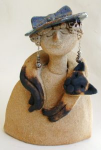 ceramic people, mabel, siamese cat, jane adams ceramics