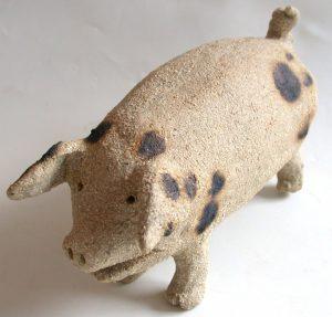 ceramic pig, pottery pig, old spot pig, jane adams cramics