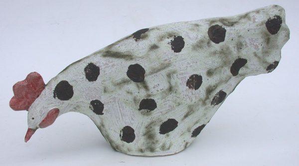 oecking chicken, ceramic hen, handmade, stoneware, garden ornament, jane adams ceramics