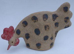 pecking spotty chicken, hen, ceramic fowl, handmade, studio ceramics, jane adas ceramics