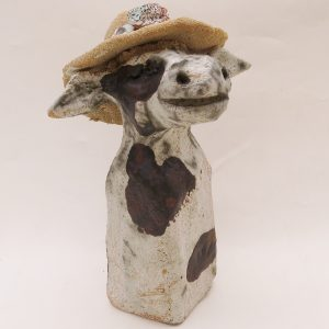ceramic cow and hat, rogues gallery, jane adams ceramics