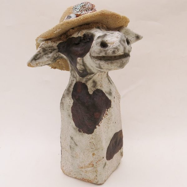 ceramic cow and hat, rogues gallery, jane adams ceramics