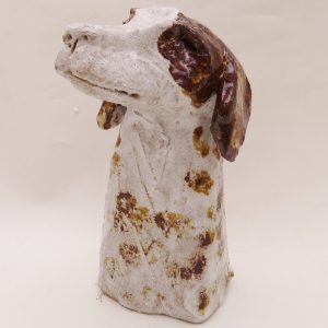 ceramic dog, rogues gallery, springer spaniel, pottery dogs, handmade stoneware, ceramics, jane adams ceramics