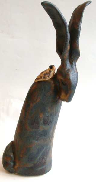 ceramic hare, bird, jane adams ceramics, handmade stoneware