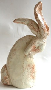 ceramic hares, cream glaze, jane adams ceramics, cornwall , pottery