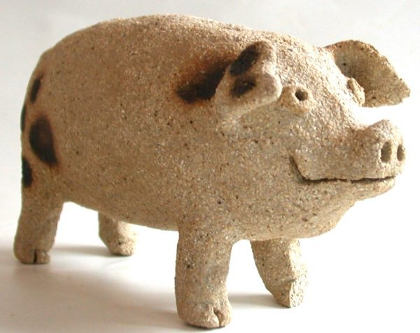small spotty pig, gloucester old spot pit, ceramic pig, stoneware pig, jane adas ceramics