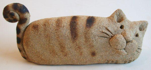 Ceramic cat. square, sitting cat. pottery cat, cat ornament, jane adam ceramics