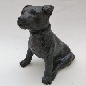 tiny sitting staffie, ceramic staffordshire bull terrier, handmade, black, jane adams ceramics