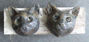 cat heads, wall plaque, cat ornament, stoneware, studio pottery, jane adams ceramics
