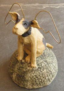 ceramic dog, angels, wings, jane adams ceramics