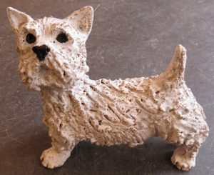 westie dog, ceramic dog, jane adams ceramics