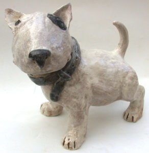 english bull terrier, ceramic dog, handbuilt sculpture, jane adams ceramics,