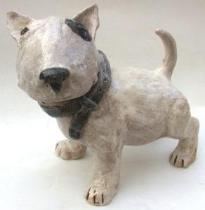 english bull terrier, ceramic dog, handbuilt sculpture, jane adams ceramics,