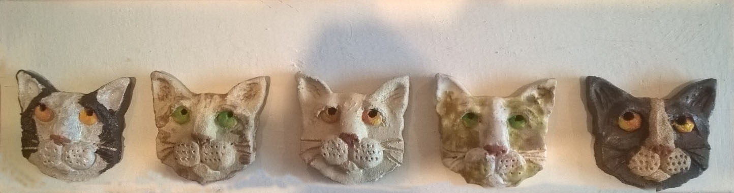 ceramic cats, wall hanging, jane adams ceramics