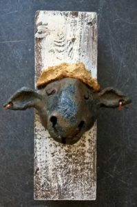 ceramic sheep, stoneware sheep, handmade pottery, wall plaques, jane adams ceramics