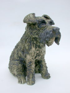 ceramic dog, handmade stoneware sculpture, jane adams ceramics, cornwall handmade