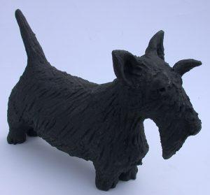 ceramic dog, ceramic scottie dog, jane adams ceramics, handmade ceramic dog, cornwall