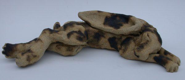 ceramic hare, sleeping hare, jane adams ceramics, handmade stoneware, cornwall