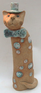cat in a hat, ceramic cat, top hat, bow tie, handmade dtoneware, jane adams ceramics
