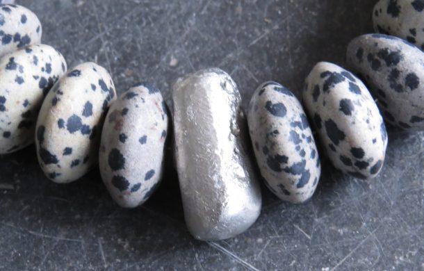 dalmatian jasper, tin bead, hand cast tin, jewellery, necklace, handmade jewellery, st just artisan jewellery