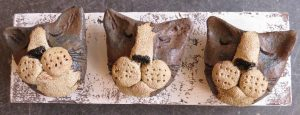 cat heads, wall plaque, woodblock, handmade, cst ornament, jane adams ceramics