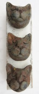 ceramic cat, cat heads, wall hanging, woodblock, jane adams ceramics