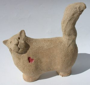 ceramic cat, red heart,cat ornament, stonewarem handbuilt