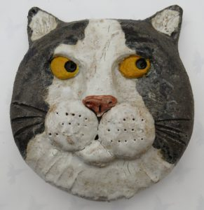 cats wall plaque, black and white cats, pottery cats, pot cats, handmade studio pottery, jane adams ceramics