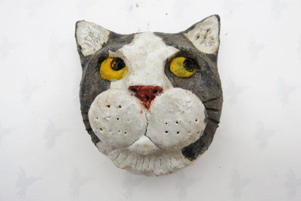 ceramic cat. cat wall plaque, black and white cat face, studio ceramics, jane adams ceramics,